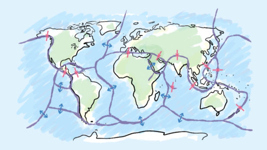 éruptions volcaniques : carte mondiale de la tectonique des plaques