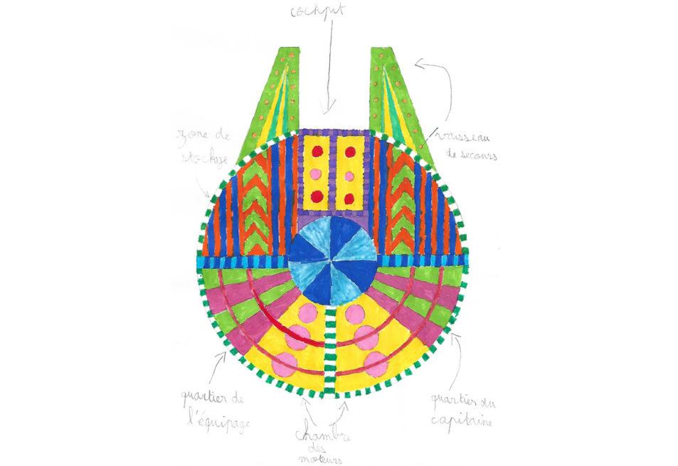 Vaisseau spatial dessiné par Maé, 9 ans.