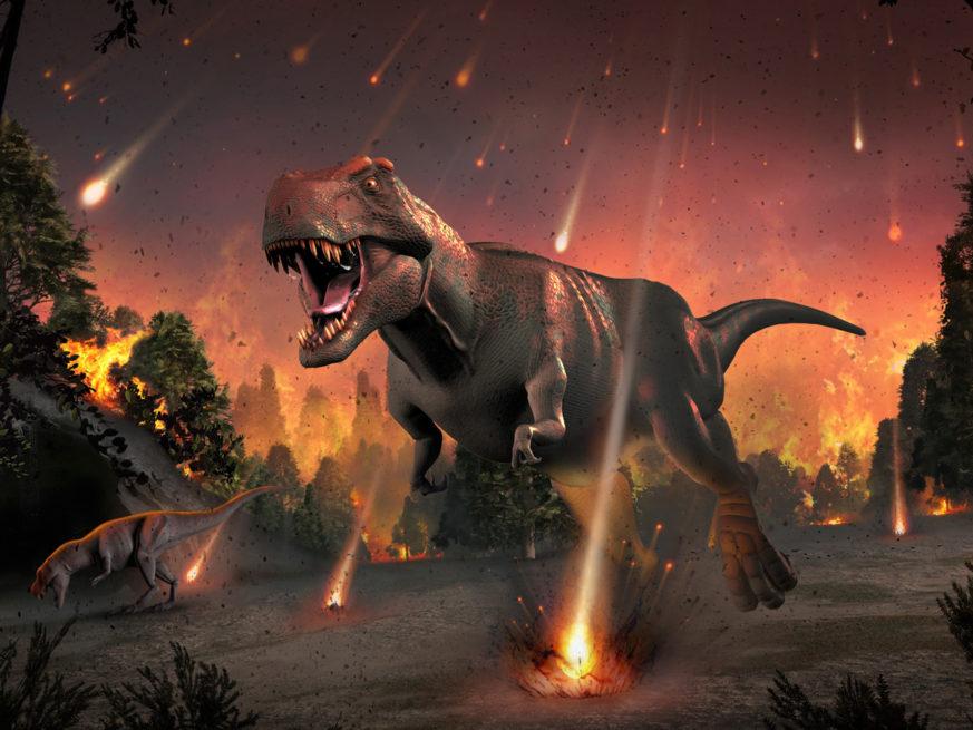 Tyrannosaure fuyant une pluie de météorites