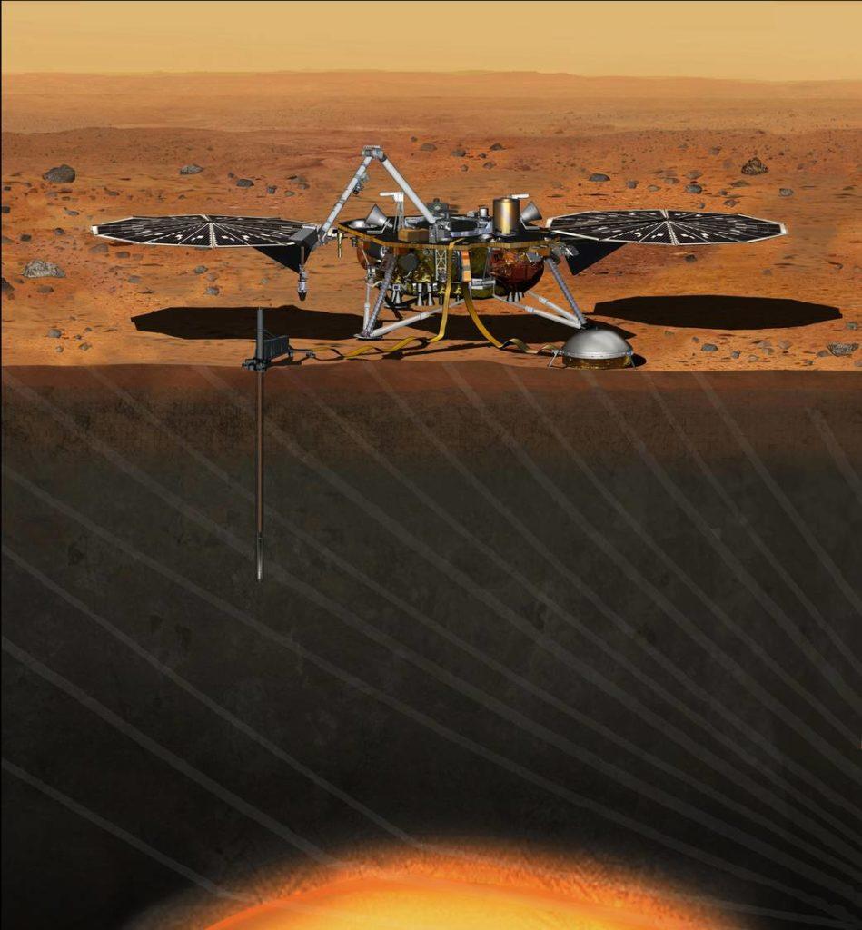 Vue d'artiste de la sonde InSight et de son sismomètre SEIS © Nasa
