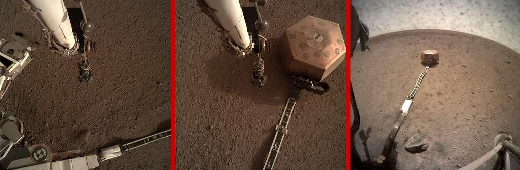 Les étapes de l'installation du sismomètre sur le sol martien