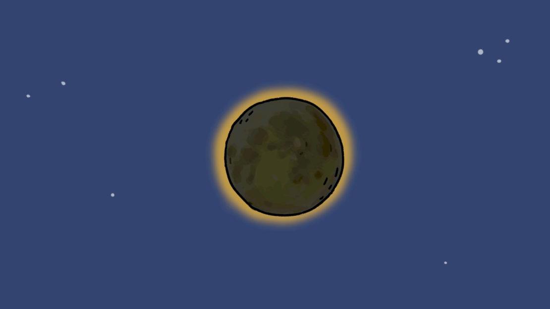 Une éclipse solaire, c'est quand la Lune cache le Soleil pendant un moment.
