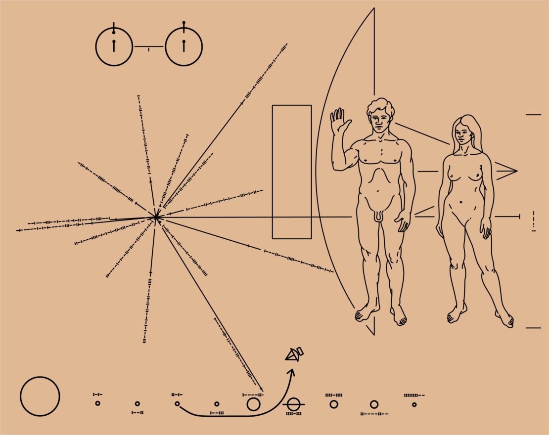 """""""La plaque de Pioneer"""", dessin placé à bord de la sonde Pioneer X en 1972 © NASA/Oona Räisänen; dessiné par Carl Sagan et Frank Drake"""