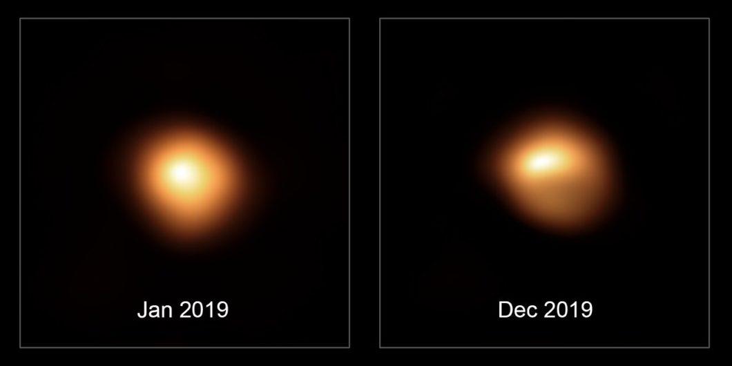 Bételgeuse avant et après sa baisse de luminosité.