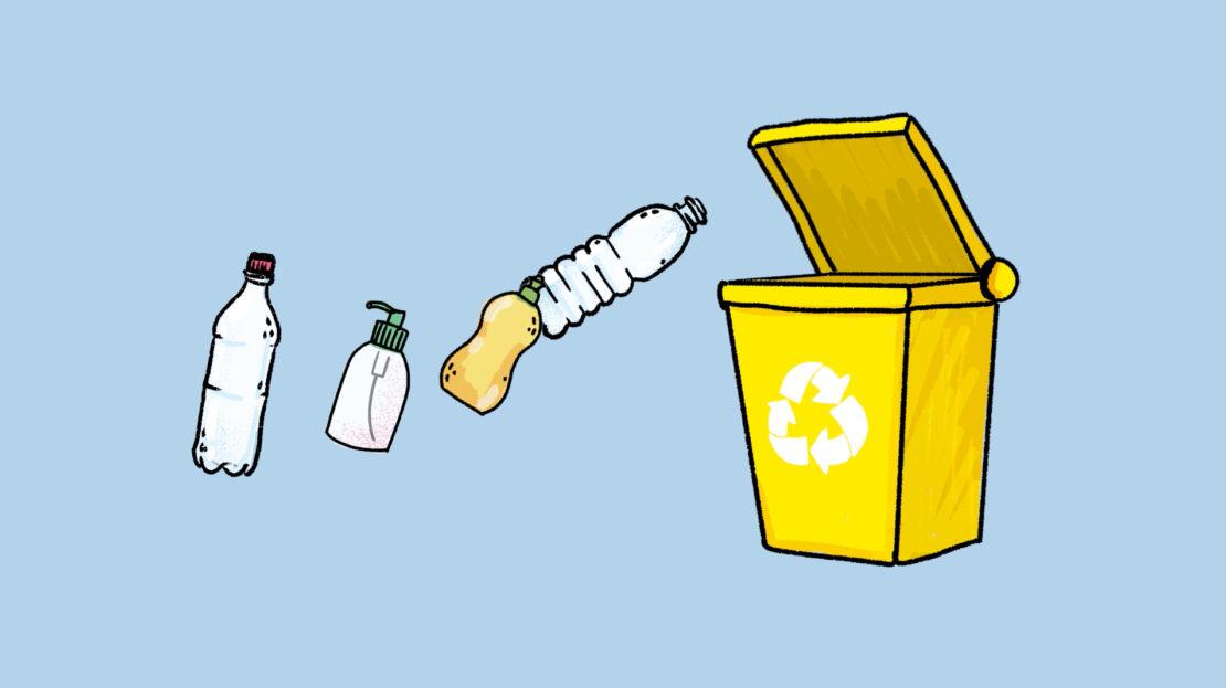 Il faut jeter les plastiques recyclables, par exemple, les bouteilles et les flacons, dans des poubelles spéciales.