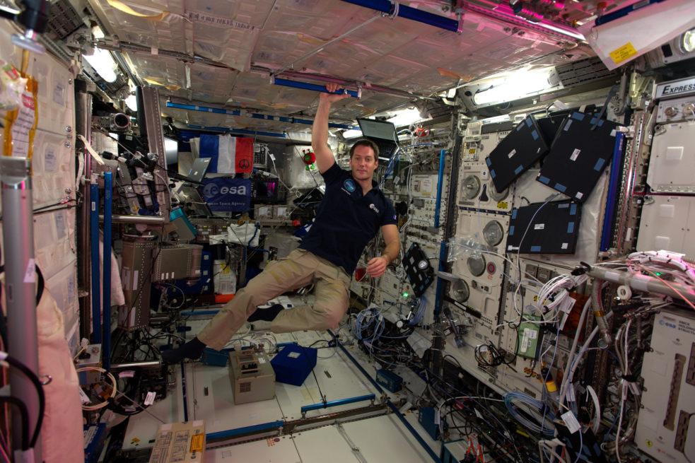 Thomas Pesquet à bord de l'ISS. © ESA/NASA